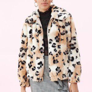 NWT Rebecca Taylor Leopard Cheetah Fur Bomber Coat